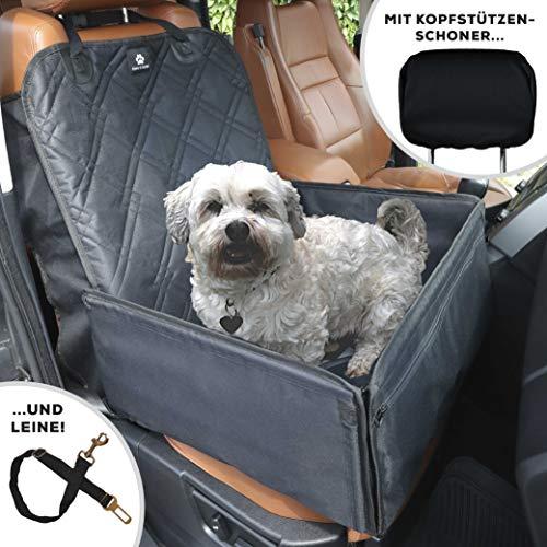 Nestor & Gamble 2-in-1 Hundesitz + Hundedecke mit Anschnallgurt fürs Auto - Rückenlehnenschutz + Kopfstützenbezug