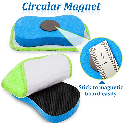Microfiber Dustless Chalk Eraser Magnetic Chalkboard Eraser Multipurpose Cleaning Duster Washable Reusable Eraser for Markers, Chalk, Home, Classroom and Office (2 Pieces) Photo #5