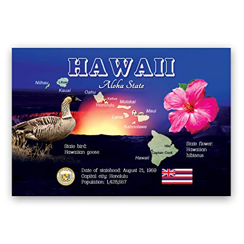 HAWAII MAP postcard set of 20 identical postcards. HI state map post cards. Made in USA.