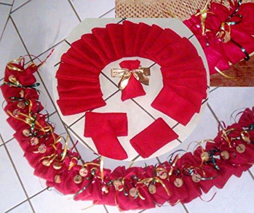 SSITG Calendrier de l'Avent – 24 Sachet Plastique Rouge 8 x 13 cm – Pochette en tissu de Noël calendrier