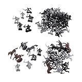 Homyl 88 pcs / Set Miniatura Juguete Guerreros de Color Plata Negro Soldados Medievales Figuras con Caballos