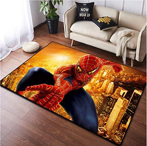 zzqiao Alfombra Dibujos Animados Anime Spider-Man Avengers Marvel Estilo Europeo Y Americano Sala De Estar Dormitorio Habitación Infantil Área Antideslizante Mat 80 * 120Cm
