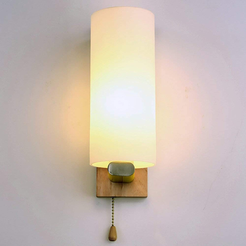 Xiao Fan  Europische Wandleuchte Einfache Moderne Massivholz-Wandleuchten Glas Lampshde E27 Sockel-Wandstrahler Koreanische Art Japanischer Gang Kinderzimmer Wohnzimmer Leuchten mit Zugschalter