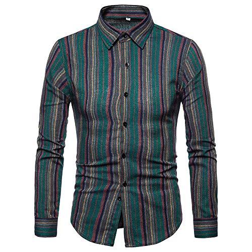 UJUNAOR Klassisch Männer Shirt Herbst Casual Langarm Revers Top Bluse Slim Fit(Grün,EU XL/CN 2XL)