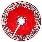 Veemoon 30 Cm Falda de Árbol de Navidad Base de Árbol Rojo Decoración de La Estera del Árbol de Navidad de Vacaciones para El Festival del Partido Adorno para El Hogar