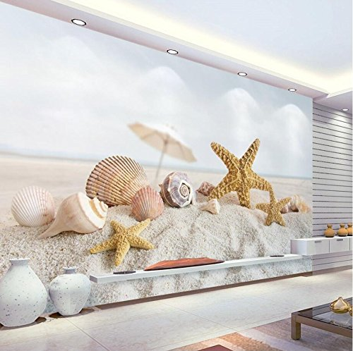 Preisvergleich Produktbild WH-PORP Custom tapete Home Decorative Mural 3D Aromatic Fresh Starfish Conch-128cmX100cm