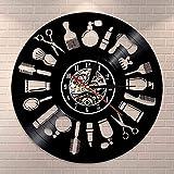 mbbvv Reloj de Pared con Receptor de Pesca de Gato Negro, Reloj de Pared con Registro de Vinilo de Gatito pescando en el Tanque de Peces, Reloj Decorativo de Acuario Gatito Meow