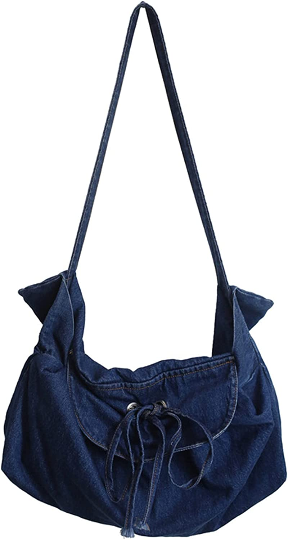 Women Denim Tote Bag Denim Shoulder Bag Hobo Crossbody Handbag Casual School Work Beach Bag