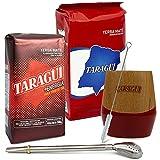 Juego de té mate: Yerba Mate Taragui Energia 0,5 kg + Con Palo 0,5 kg | Vaso mate de madera de palo-santo – Calebasso | Pajita Mate de acero inoxidable – Bombilla | Cepillo de limpieza