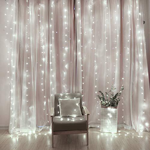 JKYQ LED Laterne Blinkende Schnur Lichtvorhang Eislaterne Festival Party Hochzeit Zeigen 3X3 Meter Sternenschnur Licht,Rosa