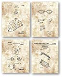 Water Polo Ball Cap, Goggles, Ear Guard and Goal - Set of 4 8 x 10 Unframed Patent Prints - Great Gift for Coaches, Players and Fans