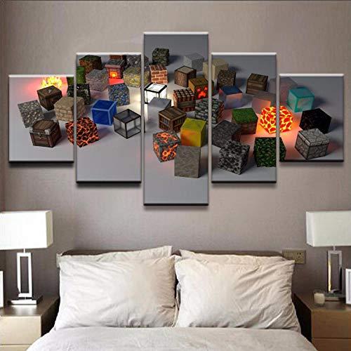 ukooo Canvas print poster muur kunst 5 tablet spel model vierkant schilderij huisdecoratie modulaire foto moderne woonkamer-4x6/8/10inch