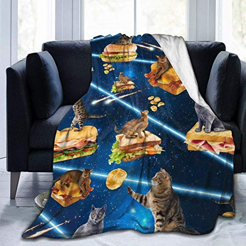 Yuanmeiju Junk Cat from Outer Space Flannel Blanket Throw Super Soft Plush Luxury Lightweight for Sofa Couch Bed for Adult