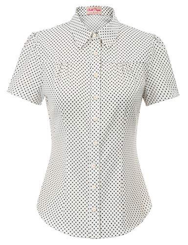 Belle Poque GF574 - Blusa para mujer, estilo vintage y retro, manga corta con círculos, retales Marine Bleu (Bp870-1) XL