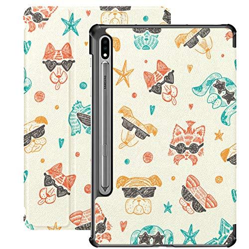 Funda para Galaxy Tab S7 Plus con Soporte para bolígrafo S Doodle Linda y Elegante Funda de Cuero PU de Moda para Samsung Galaxy Tab S7 Plus 12.4 Pulgadas 2020, Funda para Galaxy Tab S7 Plus con acti