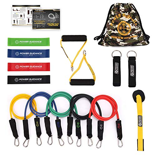 POWER GUIDANCE Resistance Bands 16 Piece Set, with 5 Exercise Loop Bands Handles Door Anchor, Ankle Straps, Carry Bag