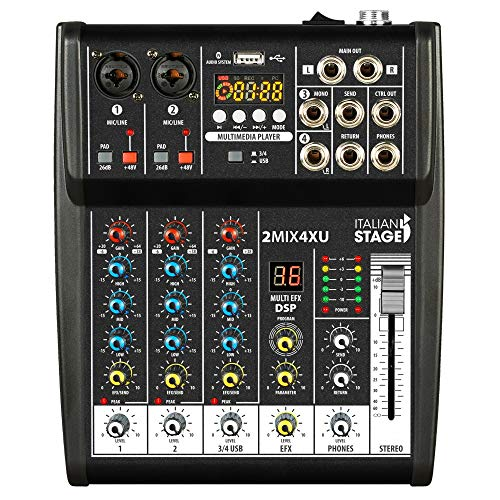 MIXER PER KARAOKE 4 canali + Lettore MP3 + USB + Bluetooth + Effetti voce