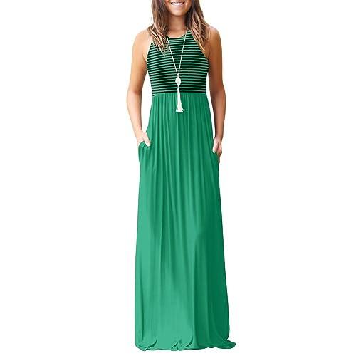 2bec83d70c4 ANRABESS Women s Summer Striped Sleeveless Crew Neck Maxi Dress Long  Dresses with Pockets