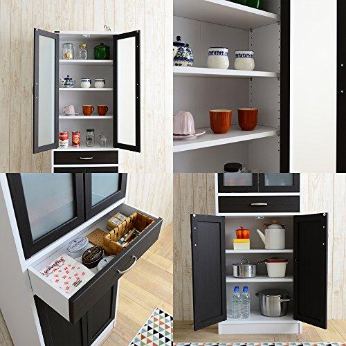 佐藤産業Cafetiraキャビネット食器棚幅58cm奥行30cm高さ182cmホワイト×ブラウン可動棚CTS180-60G