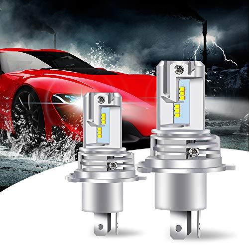 Lampadina faro LED H4 10000LM 6500K Kit di Conversione Wireless Ultra Luminoso con Ventola con Chip ZES Bianco ad Alta Luminosità per Faro Automobilistico a LED (Confezione da 2)