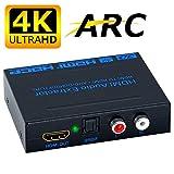 ELEVIEW 4K×2K ARC対応 HDMI 分離 音声 HDMI入力・光デジタル/アナログステレオ出力 hdmi 音声分離器 hdmi分配器 hdmiデジタルオーディオ分離器 hdmiサウンド分離器 PS3・PS4・Blu-ray・HD DVD・TV BOX・Apple TVなど対応 日本語説明書付き
