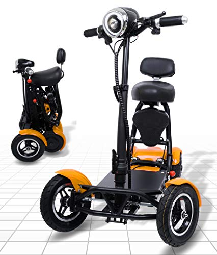 Foldable Mobility Scooter for Adults and Seniors, Lightweight & Long Range Four Wheel Mobility Scooters (Gold)