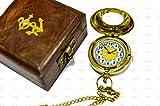 SAILOR'S ART Reloj de bolsillo de latón brillante pulido doble cara con caja de madera Shesham, brújula de regalo, producto vintage antiguo artículo de decoración del hogar