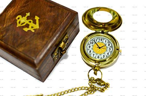 SAILOR'S ART Marinero de Arte Reloj de Bolsillo Brillante latón Pulido Doble...