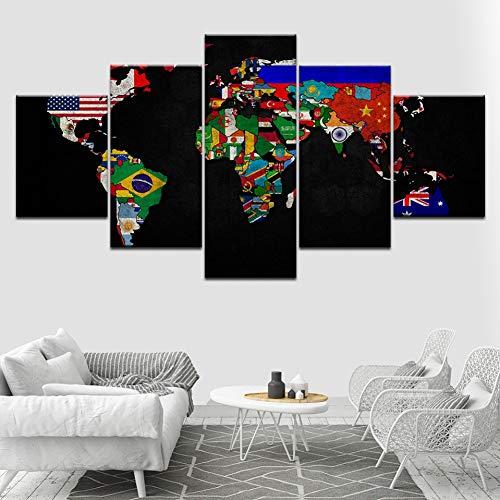AYogg 5 Leinwanddrucke Abstrakte Weltkarte 5 Stück Hd Wallpapers Kunst Leinwanddruck Modernes Poster Modulare Kunstmalerei für Wohnzimmer Wohnkultur