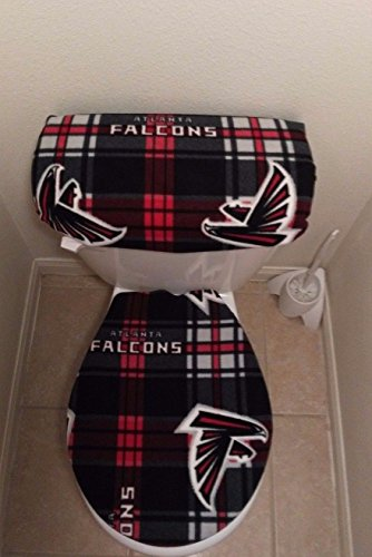Atlanta Falcons Plaid Fleece Fabric Toilet Seat Cover Set 2PC