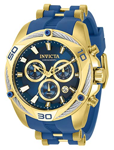 Invicta Men's Bolt Quartz Watch with Stainless Steel and Silicone Strap, Blue, 50 (Model: 31317)