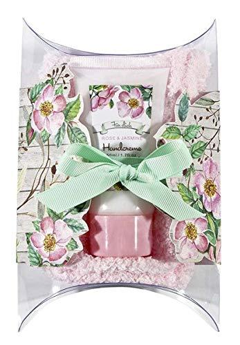 2er-Geschenkset »Gartenfreunde«: Handcreme mit blumigen Rosen-Jasmin-Duft & kuschelweiche Socken