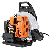 Industrial Backpack Leaf Blowe, 63cc Backpack 3HP High Performance Gasoline Leaf Blower, Used for Blowing Snow, Leaves and Dust in Lawn and Garden and More (Orange)