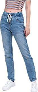 N\P Mujer mamá Jeans Pantalones Novio Jeans para Mujeres con Cintura Alta Push Up Tamaño Grande Señoras Jeans Denim