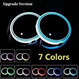 Lipctine Universal LED Car Cup Holder Lights Mats Pad Colorful RGB Drink Coaster Accessories Interior Decoration Atmosphere Compatible with Fit for BMW Jeep Benz VW Audi Ford Chevrolet Honda Toyota