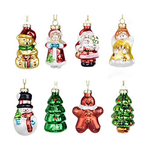 Ecosides Pack of 8 Painted Glass Figurine Christmas Ornaments Hanging Ornaments for Christmas Tree Decoration