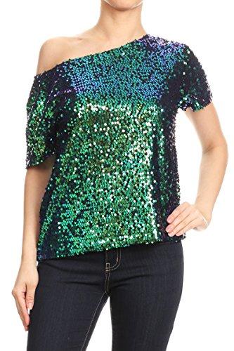 Anna-Kaci Dames een schouder korte mouwen blingeling glitter pailletten losse blouse Batwing T-shirts vintage tops bovenstuk