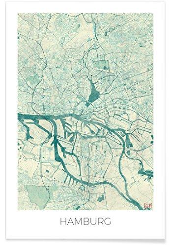 """JUNIQE® Stadtpläne Hamburg Poster 30x45cm - Design """"Hamburg Vintage"""" entworfen von Hubert Roguski"""