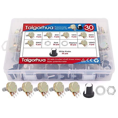 DaFuRui 3Pack B202 2K ohm Single Turn Carbon Film Rotary Taper Potentiometer Used for Inverter Speed Regulation Motor Speed Control RV24YN20S 3pcs A03 knob + 3pcs dials