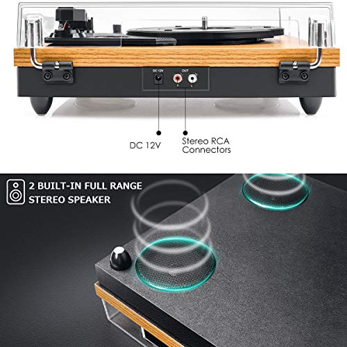 Tocadiscos de Vinilo,VIFLYKOO Bluetooth Reproductor de Discos con Vinilo Placa...