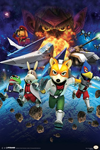 Pyramid America Star Fox Space Battle Fox McCloud Arwing Super Nintendo 64 Gamecube Wii U Characters Cool Wall Decor Art Print Poster 12x18