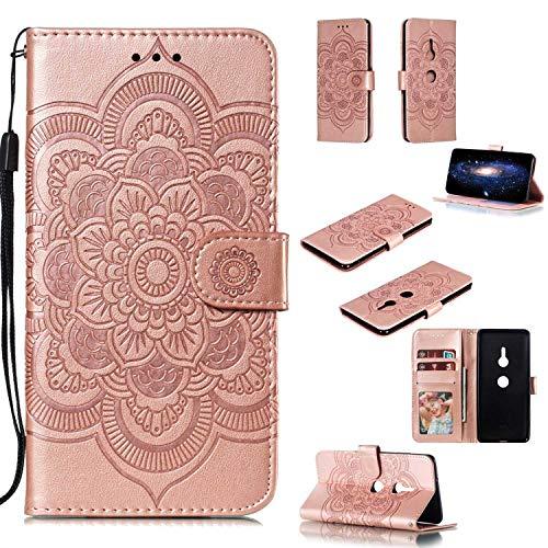Capa para Xperia XZ3, YINCANG com estampa de flor de sol em relevo couro PU macio TPU silicone interno compartimentos para cartão magnético Flip Case para Sony Xperia XZ3 6 polegadas - Rosa