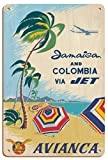 Póster de Jamaica and Colombia via Jet – Avianca National Airways of Colombia, Caribbean – Vintage Airlines Travel Poster c.960s – 20,32 x 30,48 cm Vintage Wood Art Sign