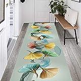 Indoor Anti- Slip Carpet Rugs Light Gray& Leaf Pattern Runner Rug 1-6m Long, Durable Short Pile Door Mat Living Room Area Rugs, Washable (Size : 100x250cm)