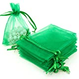 AKStore 100PCS 4x6' (10x15cm) Drawstring Organza Jewelry Favor Pouches Wedding Party Festival Gift Bags Candy Bags (Green)
