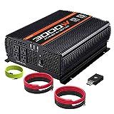 POTEK 3000W Power Inverter 4 AC Outlets DC 12V to 110V AC Car Inverter with 2 USB Port and Bluetooth
