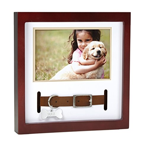 Pearhead Pet Collar Keepsake Picture Frame, Pet Owner Holiday Christmas Gift, Espresso