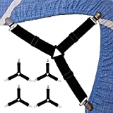 Fitted Sheet Clips, Bed Sheet Suspenders for Adjustable Beds, Bed Sheet Fasteners, 4 PCS Elastic Bed Sheet Grippers Heavy Duty, Bed Sheet Holder Straps Set for Crib Twin XL Full California King Queen