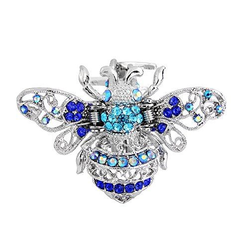 EVER FAITH Damen Österreichische Kristall Schöne Honigbiene Tierhaare Klaue Clip Blau Silber-Ton