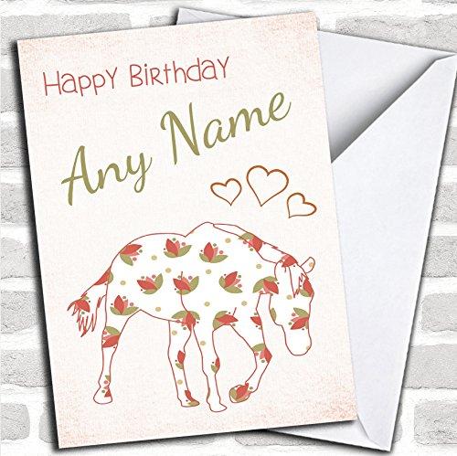 Gedessineerd Paard N Hartjes Verjaardagskaart Met Envelop, Kan Volledig Gepersonaliseerd, Verzonden Snel & Gratis